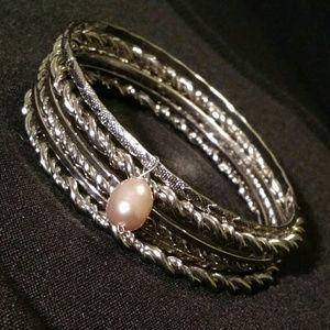 Jewelry - Set of Silver Bangles w/ Pink Faux Pearl